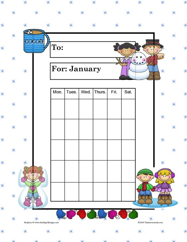 Month of January Theme Progress Incentive Chart