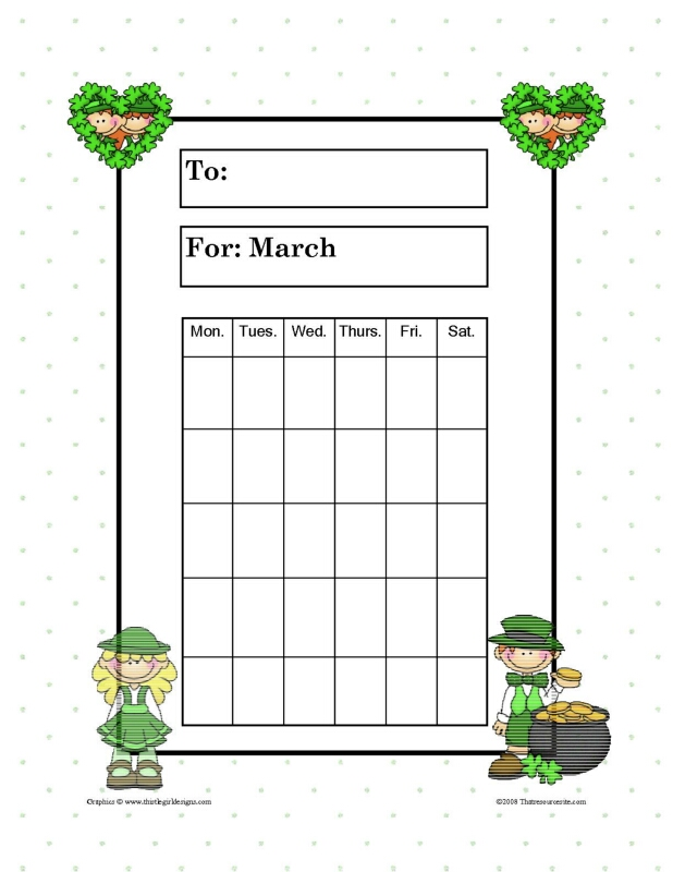 Month of March Theme Progress Incentive Chart