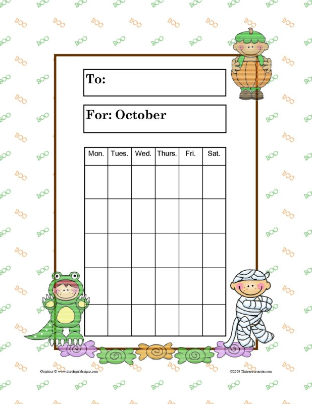 Month of October Halloween Theme Progress Incentive Chart