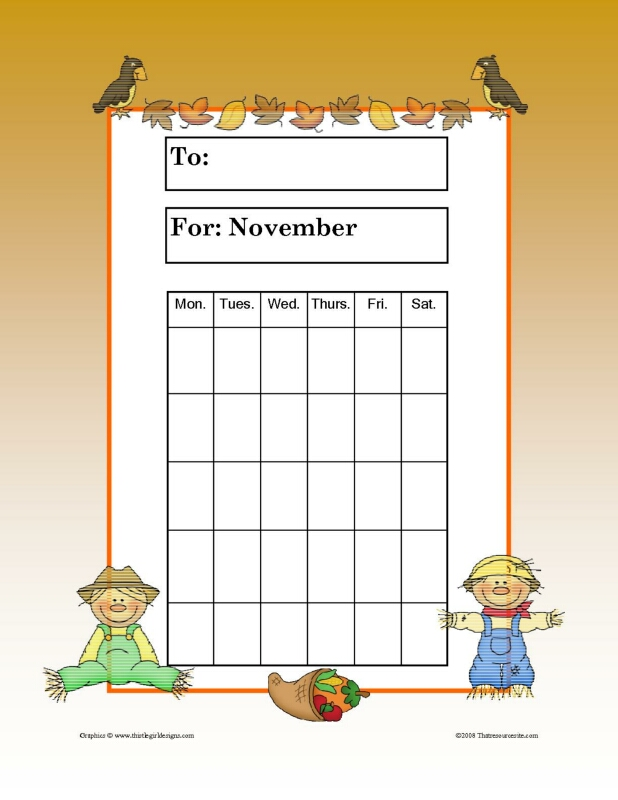 Month of November Theme Progress Incentive Chart