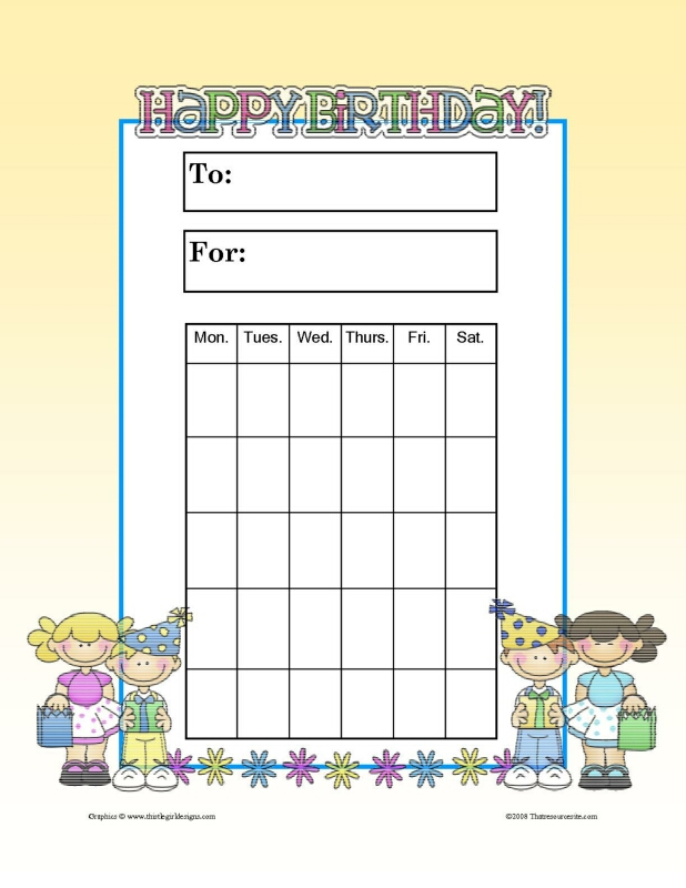 Happy Birthday Theme Progress Incentive Chart That Resource Site
