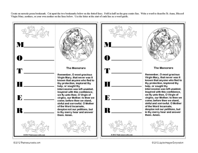 mother mary acrostic bookmark
