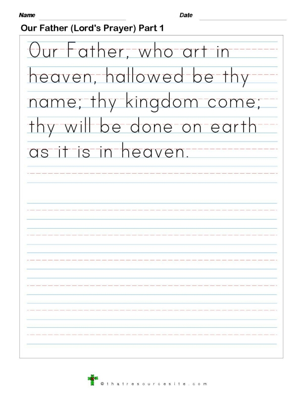 Write the Our Father Prayer
