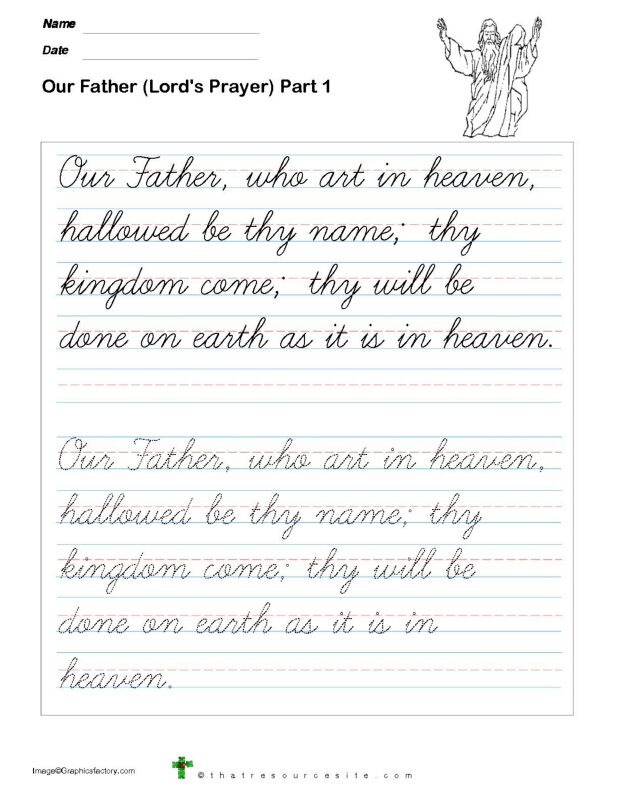 Trace the Our Father Prayer in Cursive