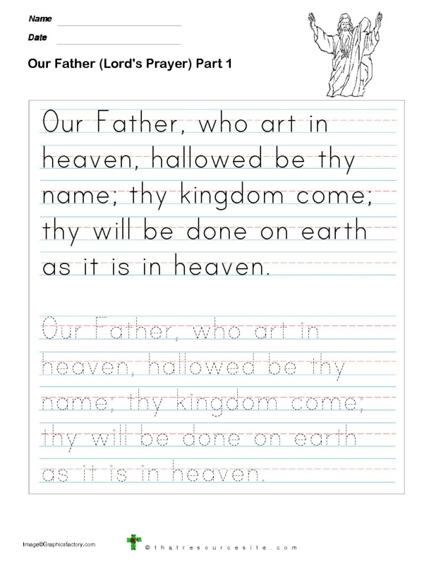 Our Father Prayer Trace Print