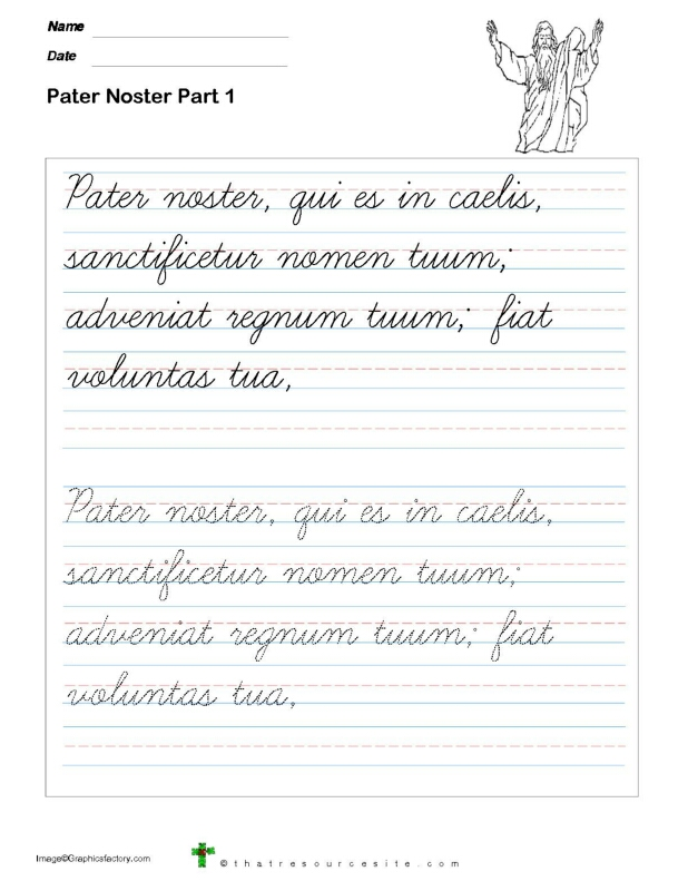 Trace the Pater Noster Prayer in Cursive