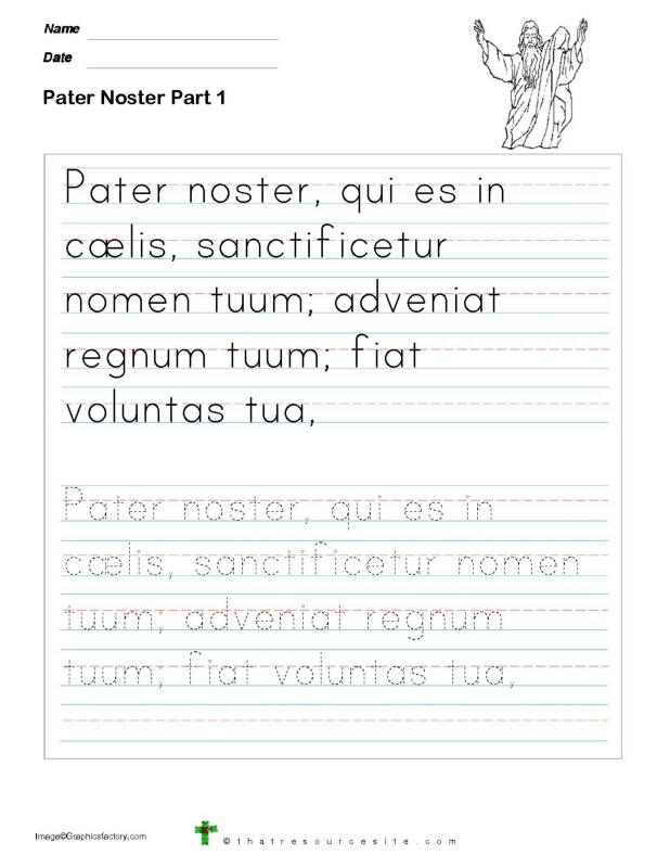 Trace the Pater Noster Prayer in Manuscript