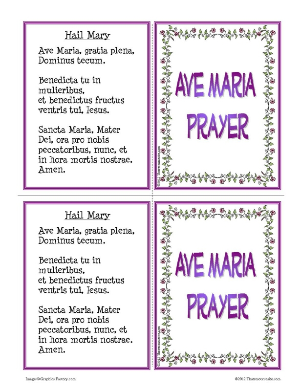 Ave Maria Prayer Learning Card Set