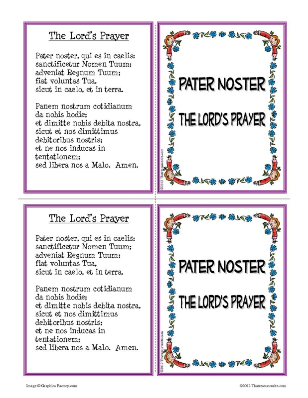Pater Noster Prayer Learning Card Set