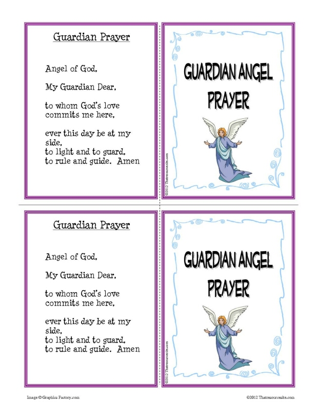 Guardian Angel Prayer Learning Card Set