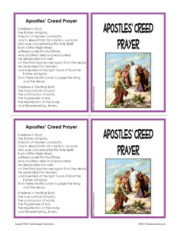 Apostles' Creed Prayer Learning Card Set