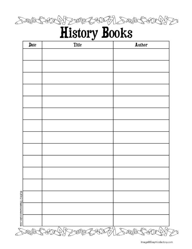 History Books Reading Log for Tweens