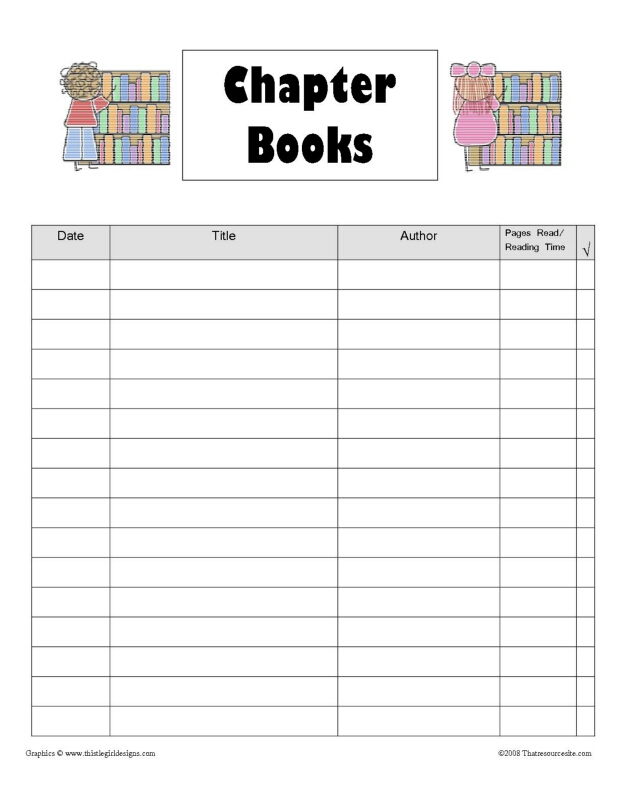 Chapter Books Reading Log Page That Resource Site
