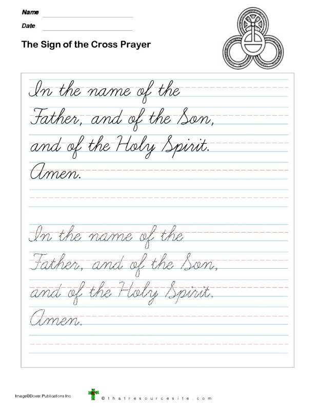 Trace the Sign of the Cross Prayer in Cursive