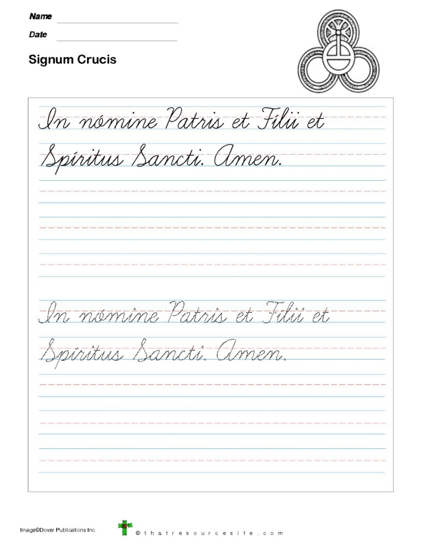 Trace the Signum Crucis Prayer in Cursive