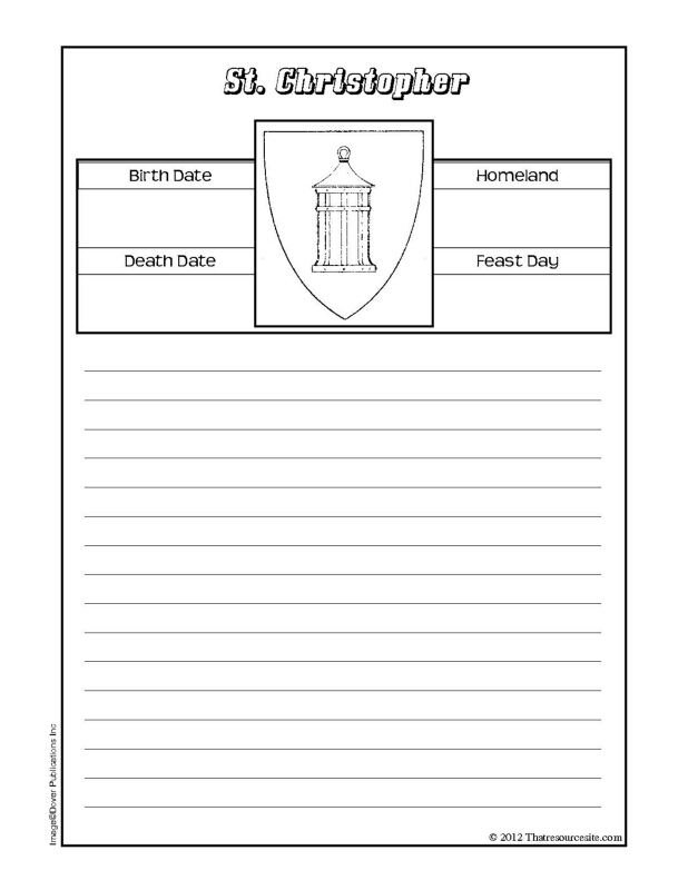 St. Christopher Notebooking Sheet