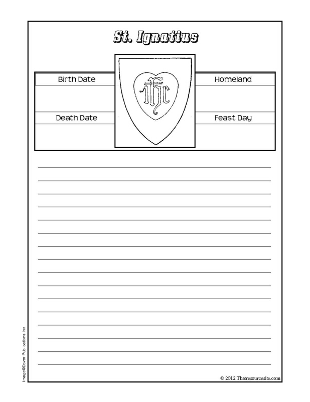 St. Ignatius Notebooking Sheet