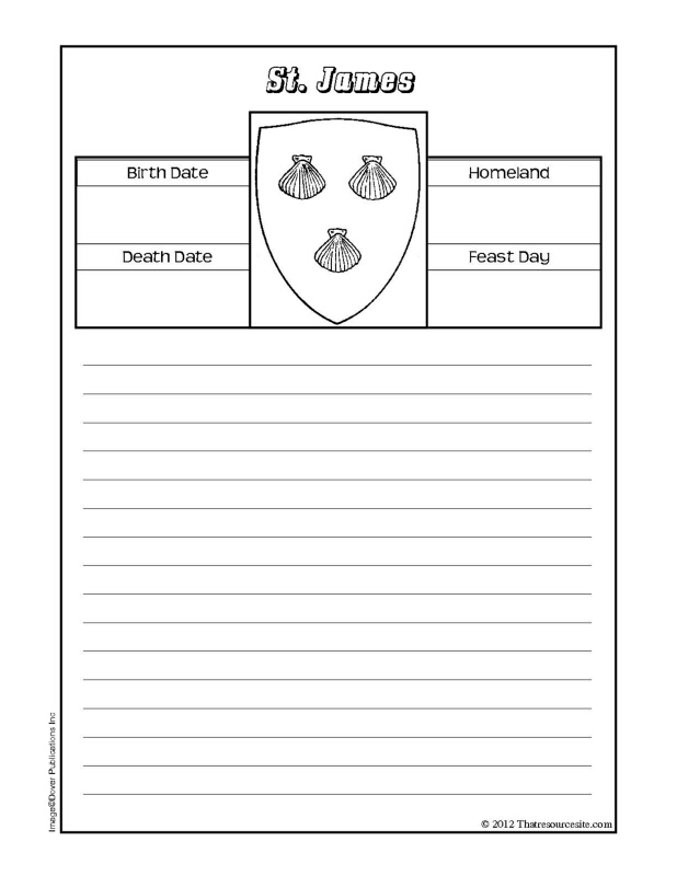 St. James the Greater Notebooking Sheet