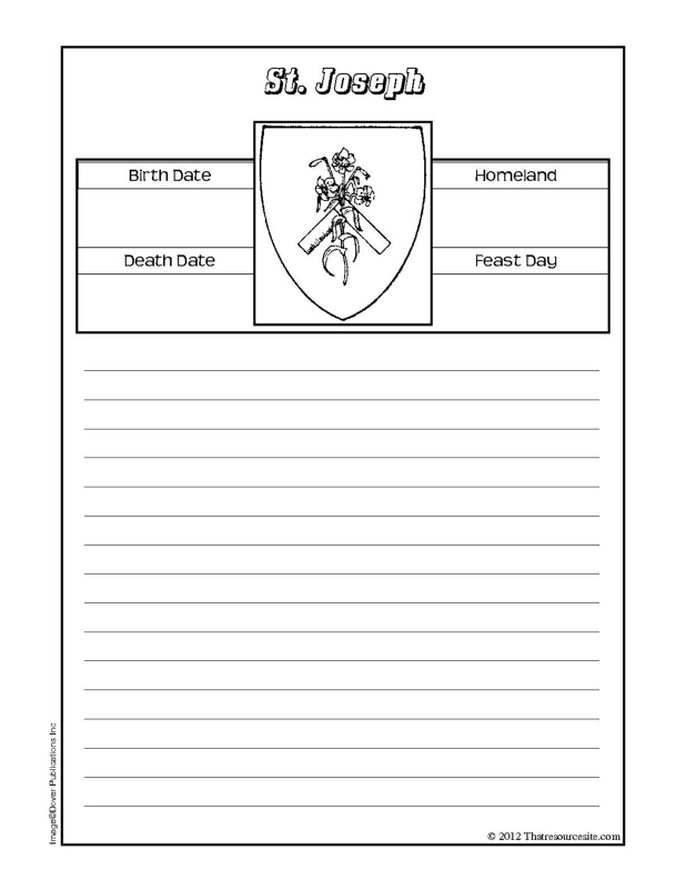 St. Joseph Notebooking Sheet