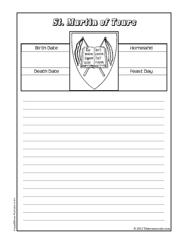 St. Martin of Tours Notebooking Sheet