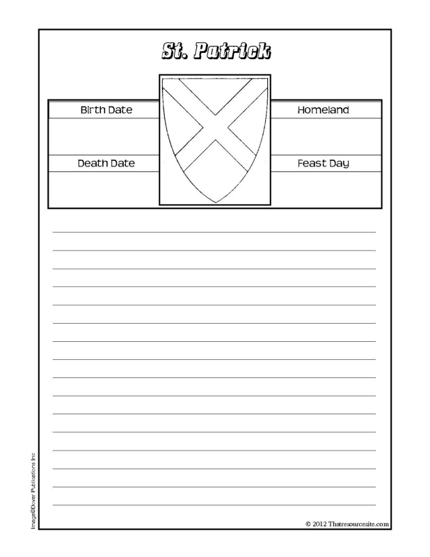 St. Patrick Notebooking Sheet