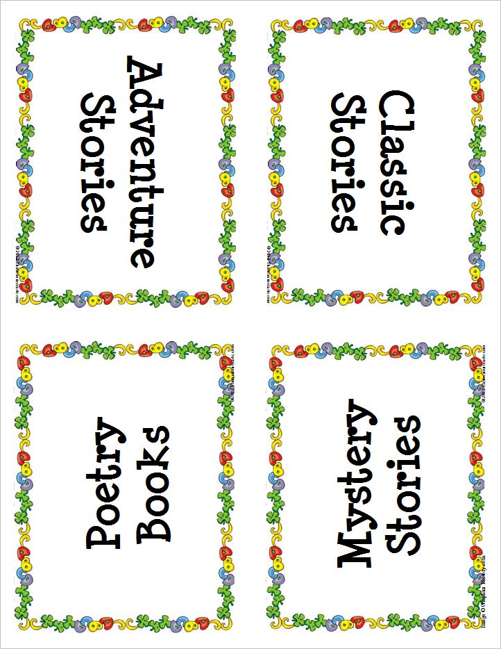 Small Book Basket Reading Labels with ABC Border