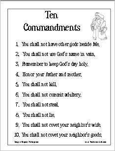 Worksheet Ten Commandments Worksheets ten commandments that resource site part 4 poster version 1
