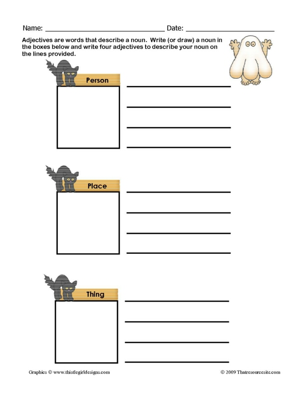 Describe a Noun Worksheet (Halloween Ghost)