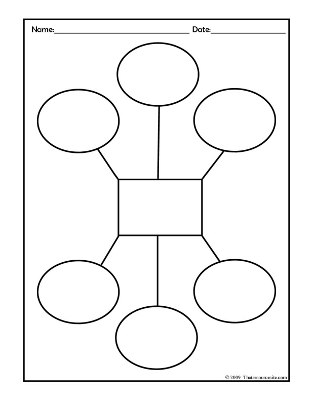 Six Ovals with a Rectangle Graphic Organizer Worksheet
