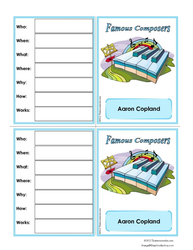 Aaron Copland Research Learning Card