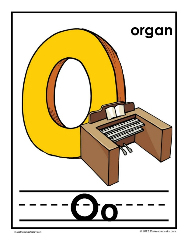 O Is for Organ Alphabet Handwriting Poster Set