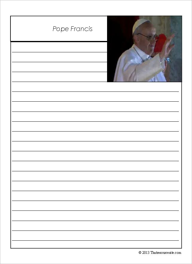 Pope Francis Notebooking Sheets