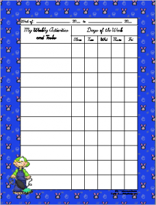 Weekly assignment Chart featuring kids doing chores