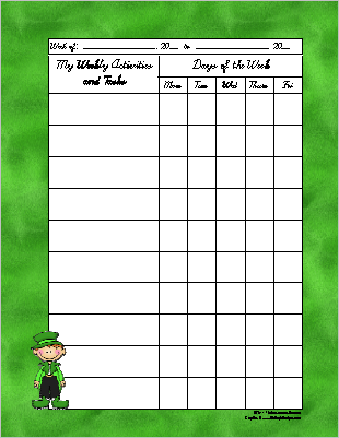 St. Patrick's Day Theme Weekly Activity Sheet