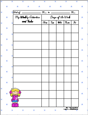 Winter Theme Weekly Activity Sheet
