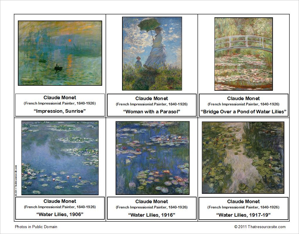 Claude Monet Montessori Art Cards