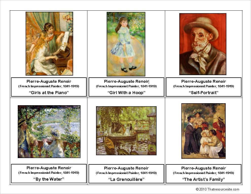 Pierre-Auguste Renoir Montessori Art Cards