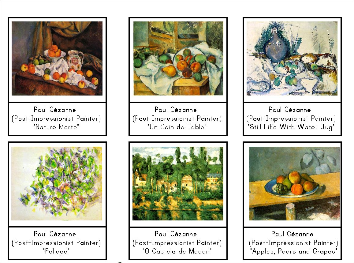 Paul Cézanne Montessori Art Cards