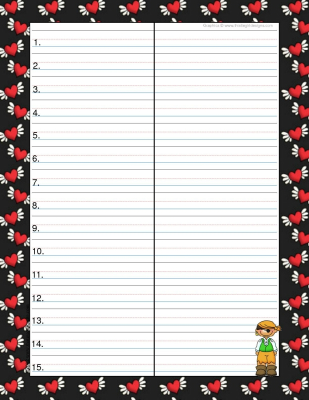 Pirate Hearts Theme Spelling & Vocab Drill Sheets