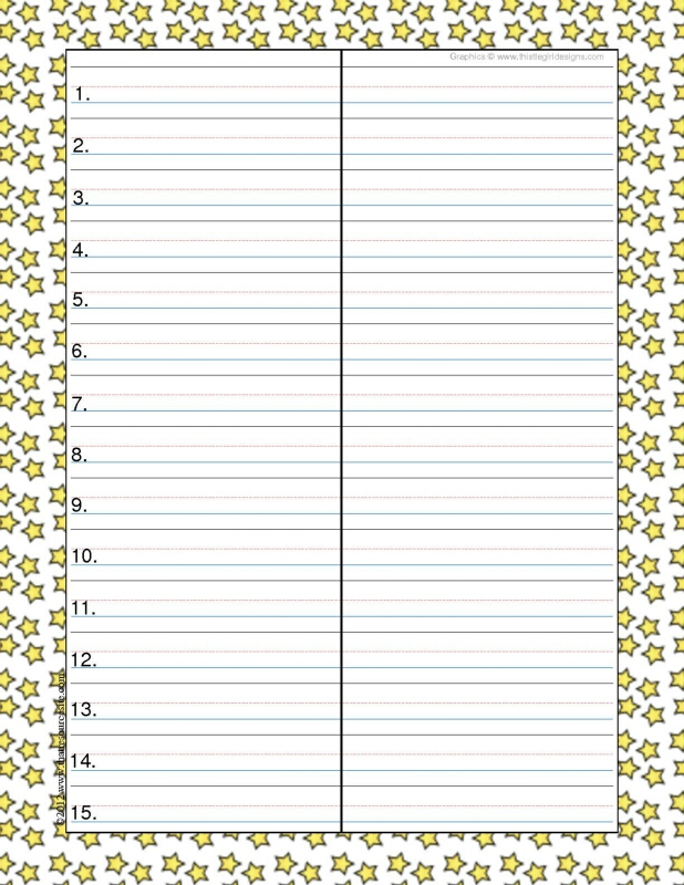 Star Theme Spelling & Vocab Drill Sheets