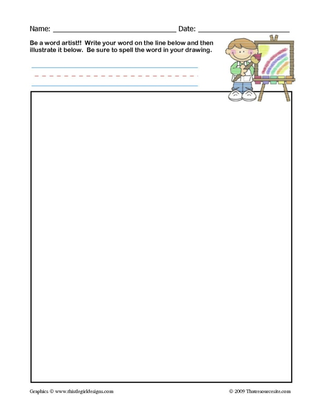 Word Artist Worksheet (1 Word)