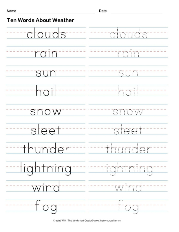 Ten Words About Weather Copywork Set