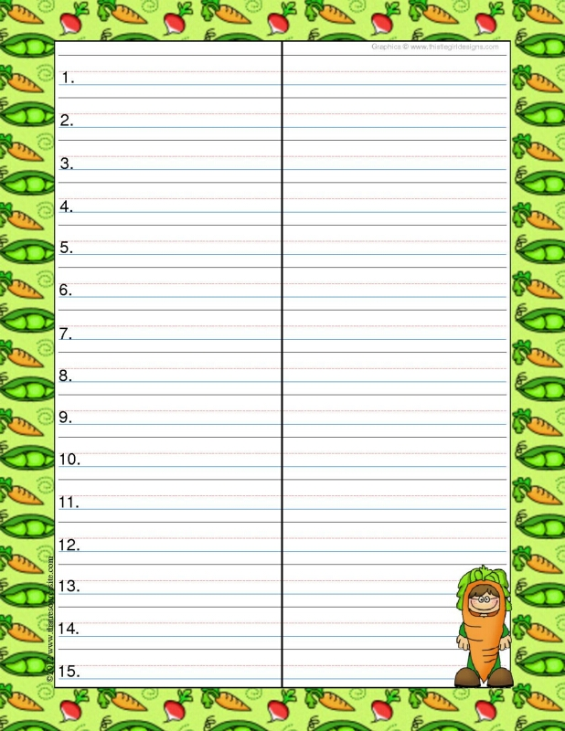Veggie Kids Theme Spelling & Vocab Drill Forms