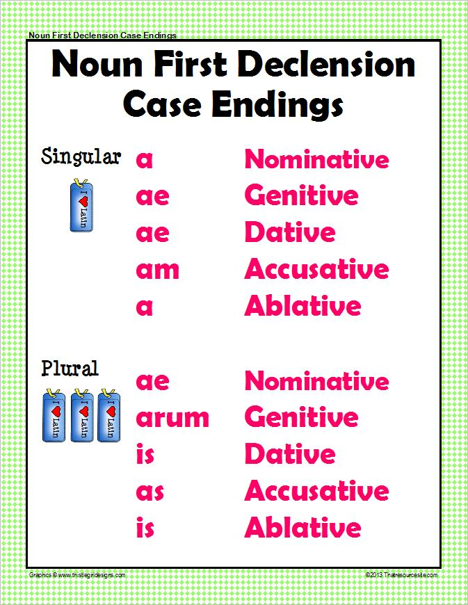 Case Endings First Declension Latin Poster