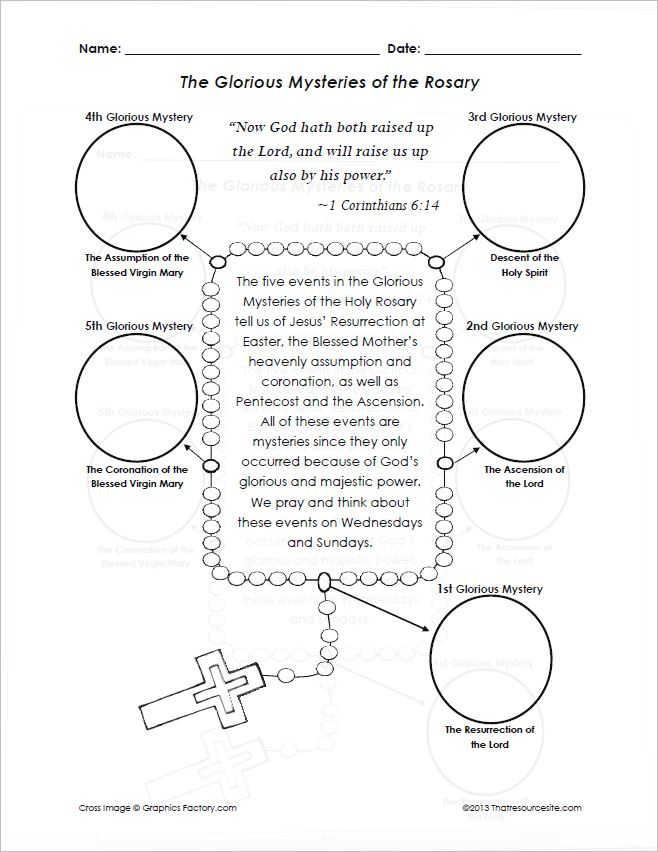 Glorious Mysteries of the Rosary Cut-N-Paste Activity