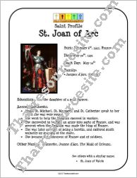Profile Sheet teaches about St. Joan of Arc