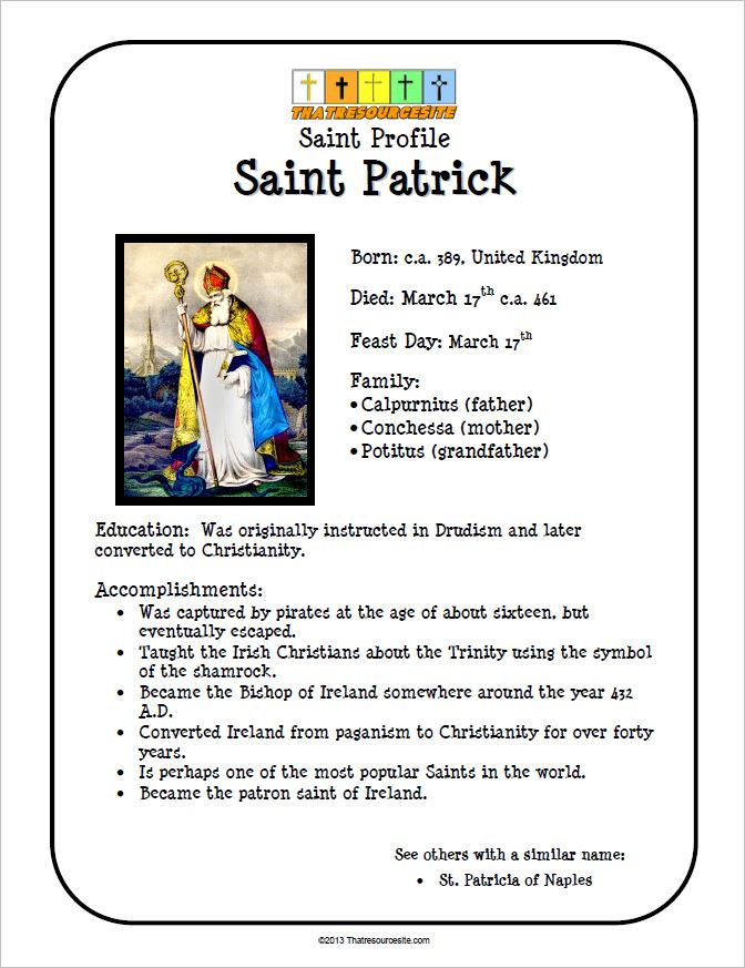St. Patrick Saint Profile Sheet