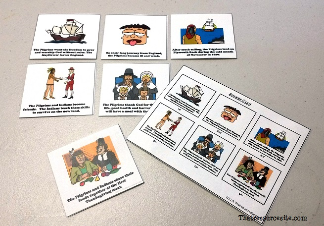 First Thanksgiving Story Plot Cards