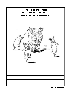 Three Little Pigs Coloring and Copywork Sheets Set