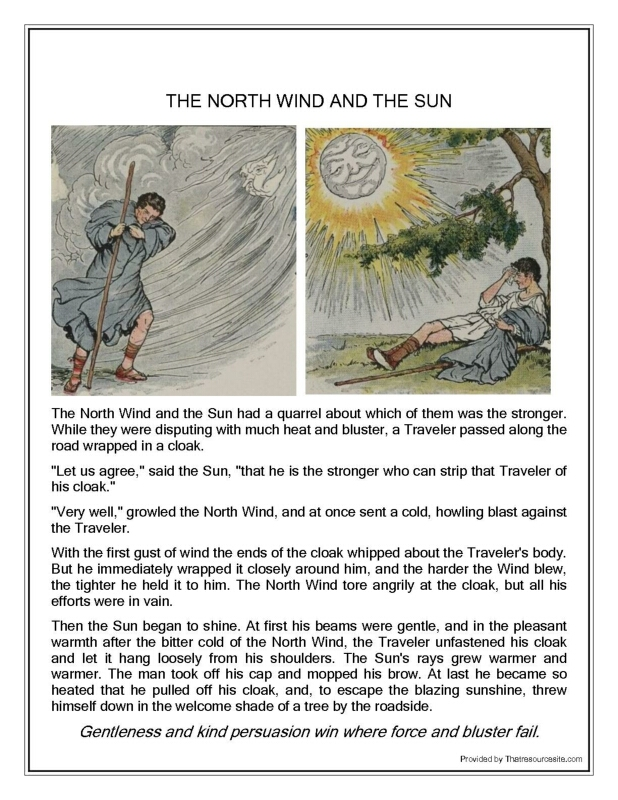 aesop u0026 39 s fable  the north wind and the sun